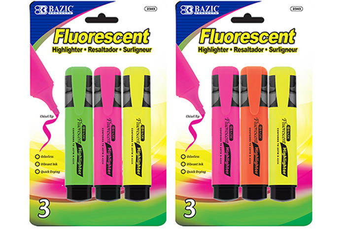BAZIC Fluorescent Highlighters With Pocket Clip